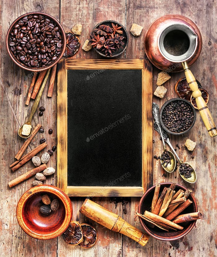 coffee and many coffee spices