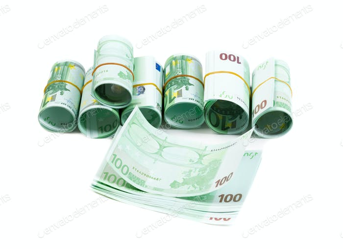 Denominations, 100 euros rolls. Isolate on white.