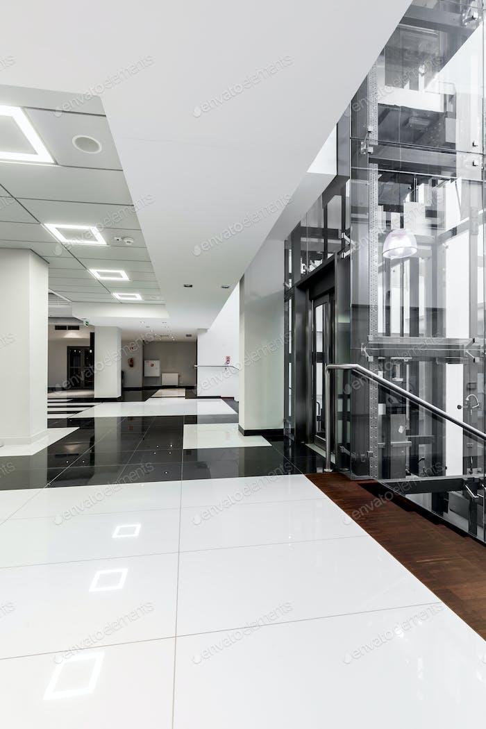 Modern black and white corridor