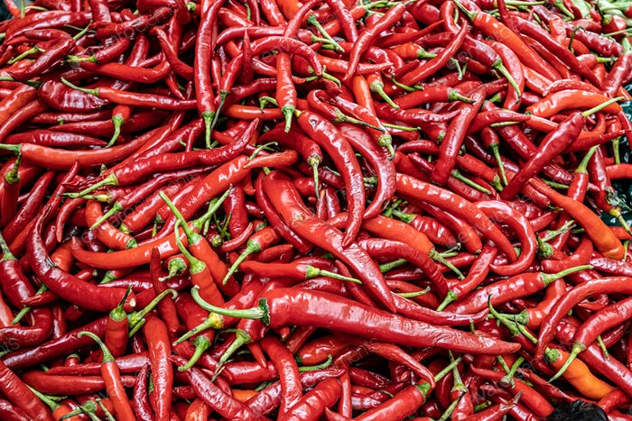 Red Chilli Background. India Ingredient for Sale in Market