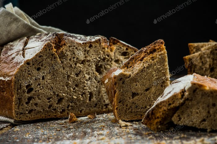 Healthy wholegrain traditional bread for sharing
