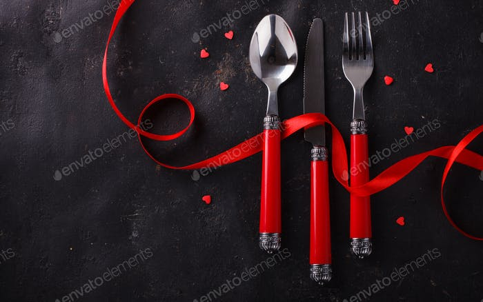 Romantic Valentine Day celebration, a set of silverware .