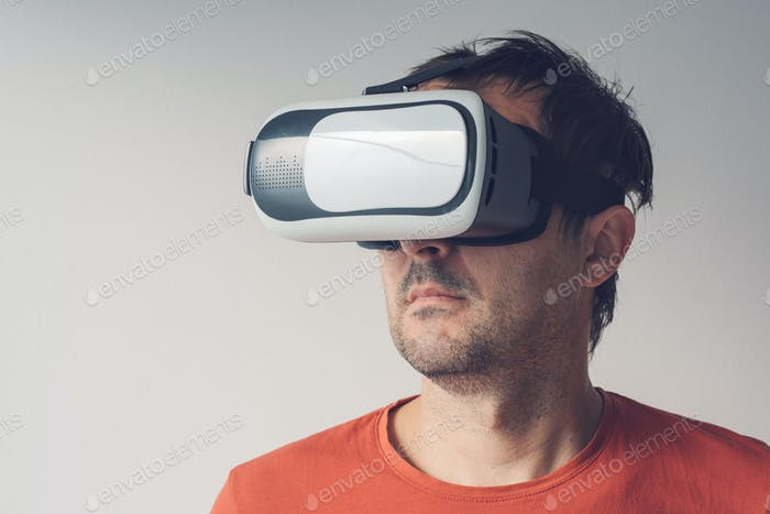 Man with virtual reality goggles