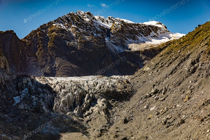 Mountain view of the glacier river and valley at Fox Glacier, We