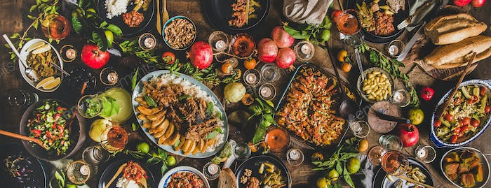 Flat-lay of Turkish traditional foods for celebrating holiday, wode composition