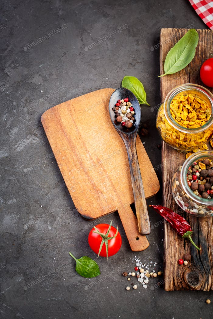 Spice, Ingredients for cooking and cutting board.