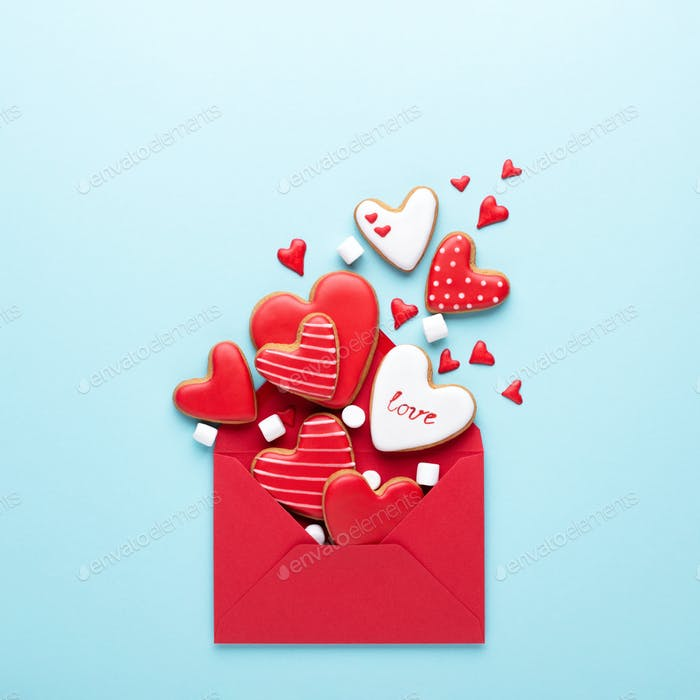 Red Envelope with Valentine's Heart-shaped Cookies.