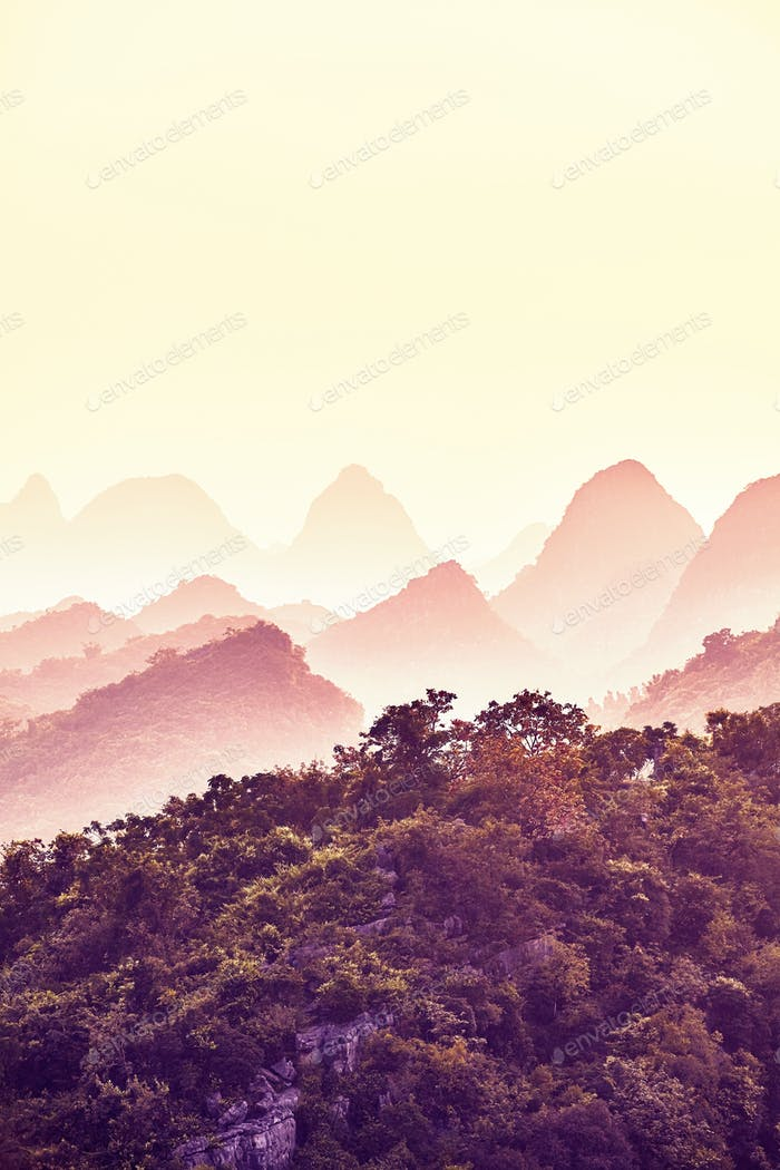 Sunset over Karst mountains in Guilin, China.