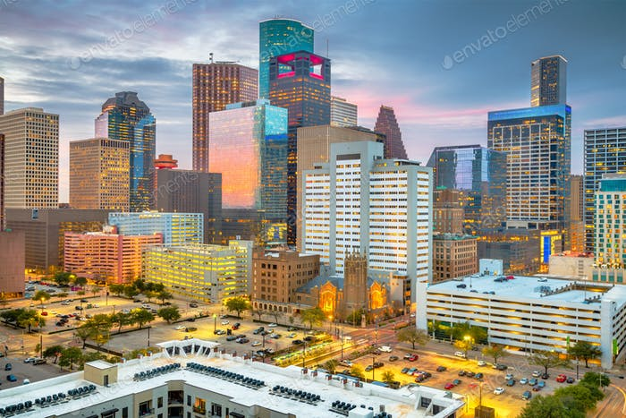 Houston, Texas, USA Downtown Skyline at Dusk