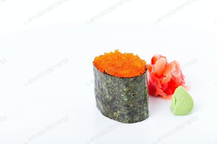 Gunkan sushi stuffed with red tobiko caviar.