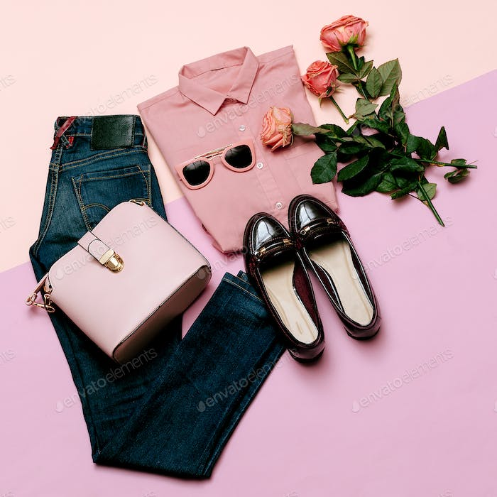 Romantic clothes set. City casual fashion. Spring and Pink. Styl