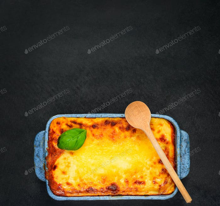 Baked Lasagna on Copy Space Text Area