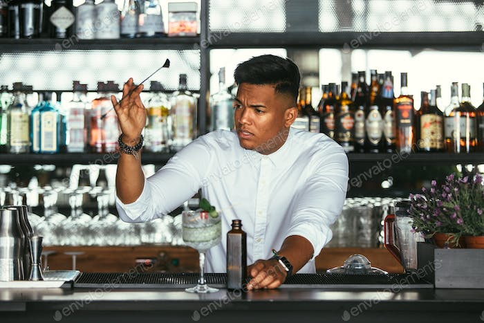 Expert bartender with cocktail bar spoon