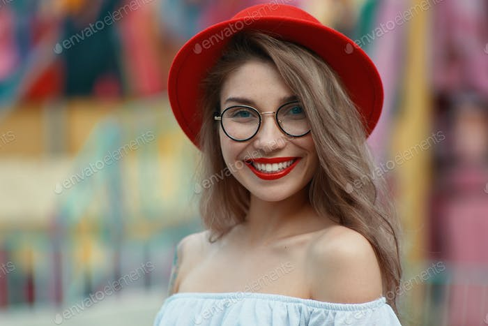 Portrait shiny positive girl with irresistible smile