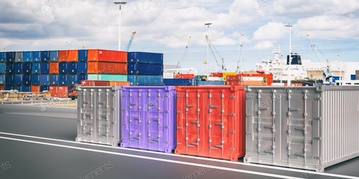 Cargo containers, blur harbor background. Import export, logistics concept. 3d illustration
