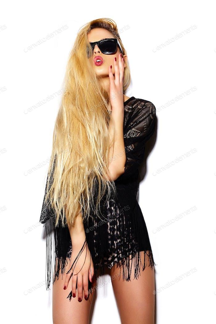 Young pretty woman posing in studio