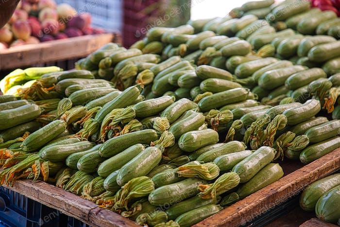 Organic zucchini on farmers market in Greece