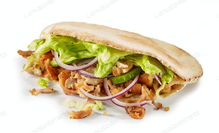 doner kebab on white background