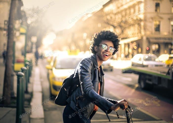 Girl in a city street