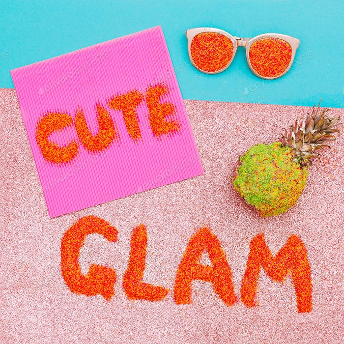 Text of sequins. Cute Glam Art Minimal
