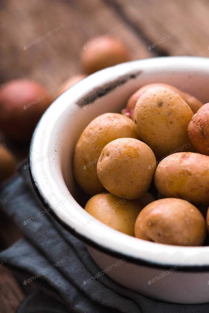 Raw potatoes in the metal bowl vertical