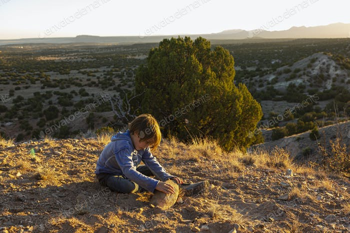 A boy outdoors