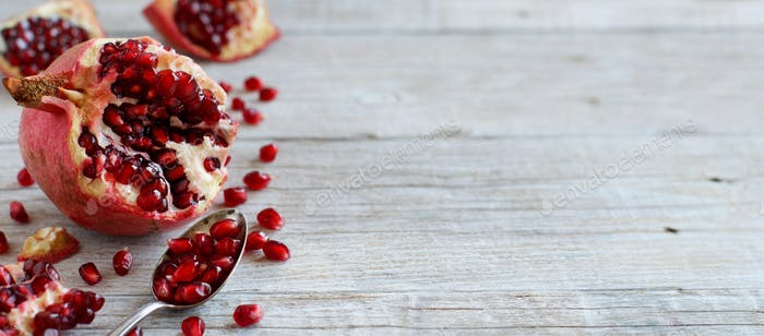 Open fresh ripe pomegranates