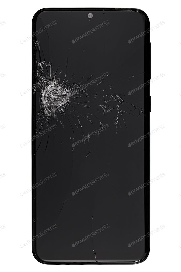 Smartphone with broken display screen, isolated on white background
