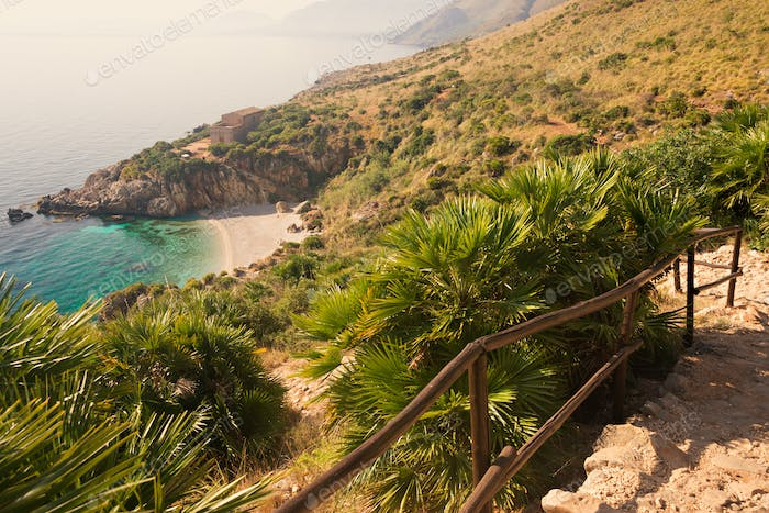 Secluded beach in Lo Zingaro national park on Sicily