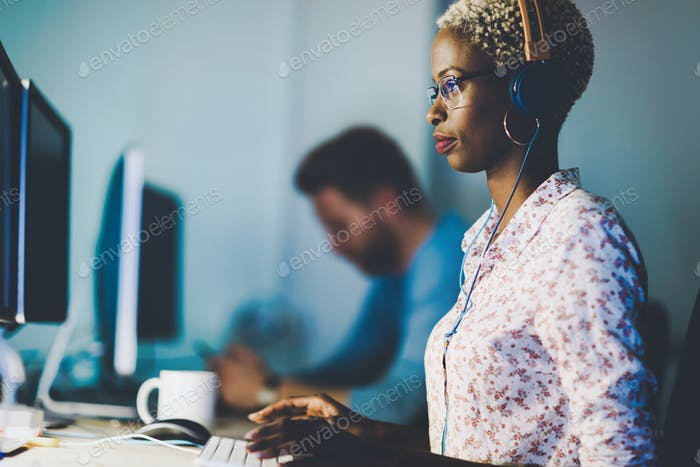 Female software developer working for IT company
