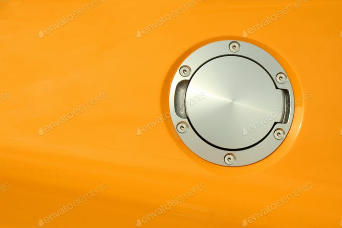 Yellow sports car gas cap