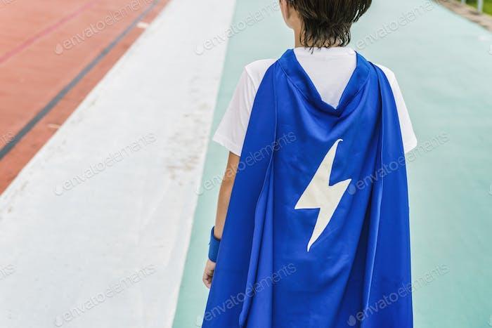Superhero Boy Imagination Freiheit Glück Konzept