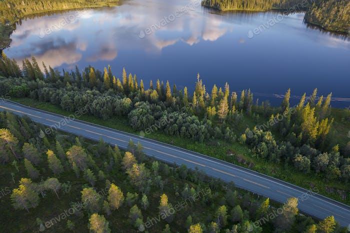 Scenic Norwegian Nordland Lake Side Highway Drive