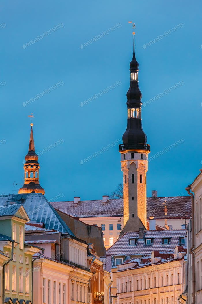 Tallinn, Estonia, Europe. Old Medieval Tower Of City Hall On Blu
