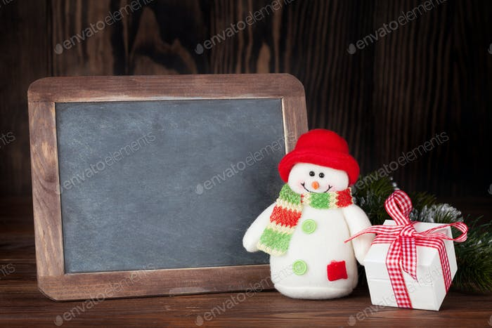 Christmas chalkboard, snowman and gift