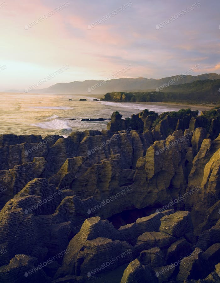 Pancake Rocks in New Zealand Mountain Concept
