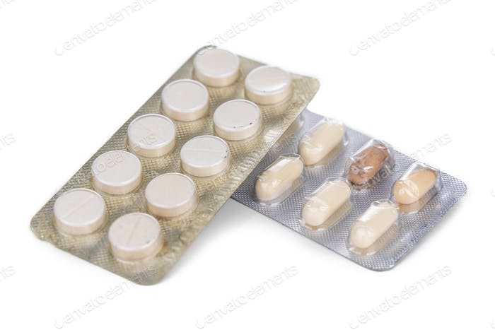 Strips of expired tablet, caplet  and capsule medicine.