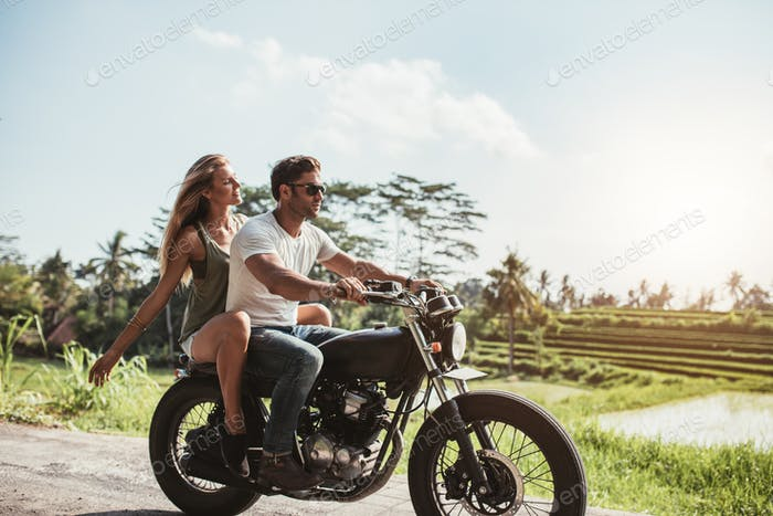 Young couple on motorbike