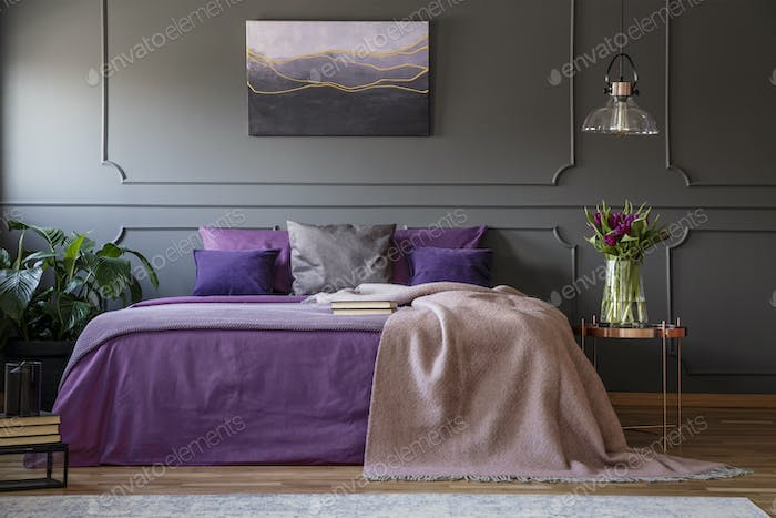 Purple bedroom interior