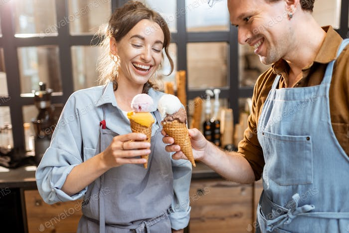 Cheering with yummy ice creams indoors
