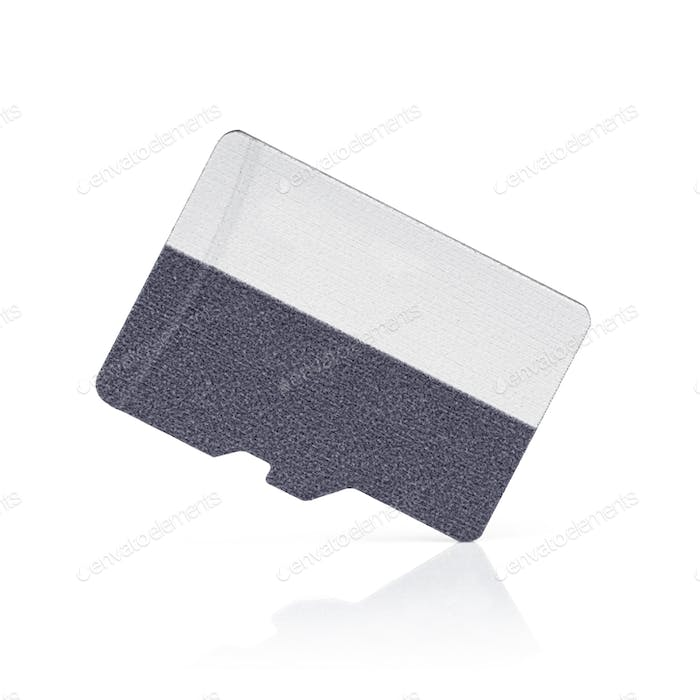 Blank micro SD memory card on white background