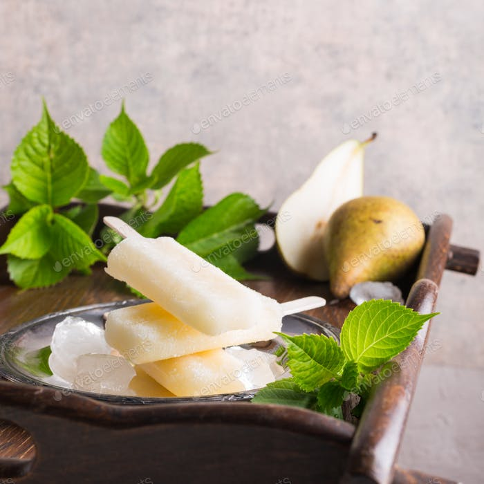 Homemade pear popsicles