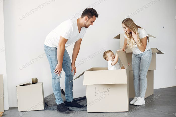 Family moving and using a boxes