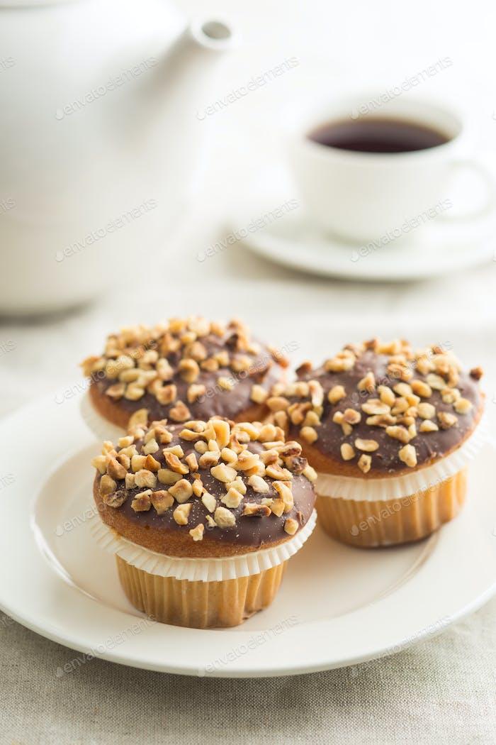 Sweet hazelnut muffins.