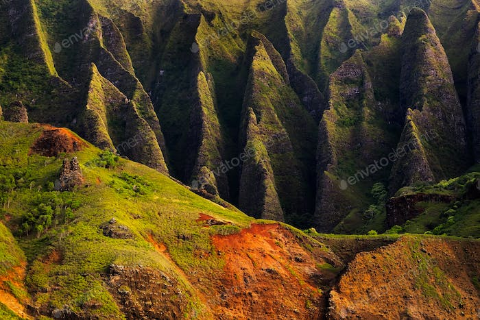 Detail landscape view of Na Pali rugged cliffs, Kauai