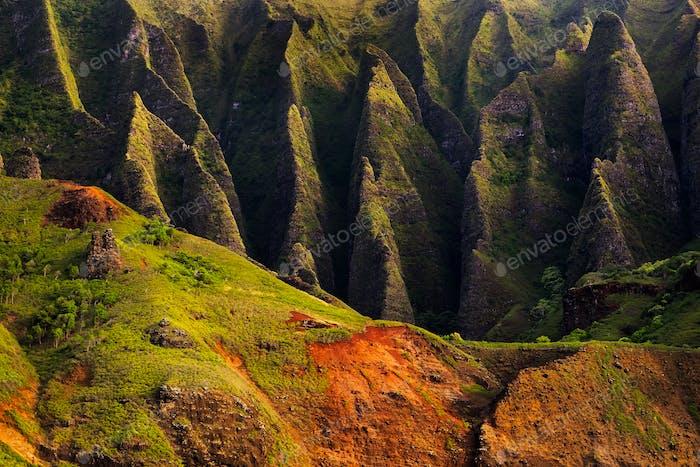 Detail landscape view of Na Pali rugged cliffs, Kauai