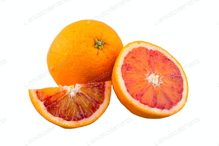 Frische Orange auf weißem Hintergrund