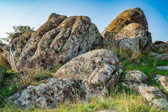 Enorme depósitos de minerales de piedra en un claro bañado en el sol cálido