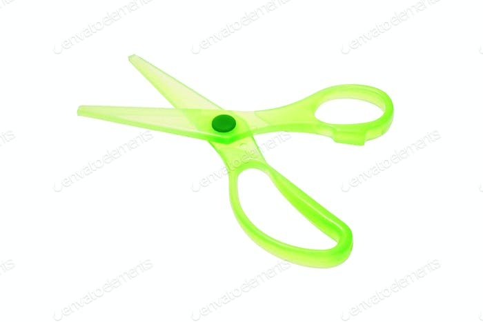 Green plastic scissors