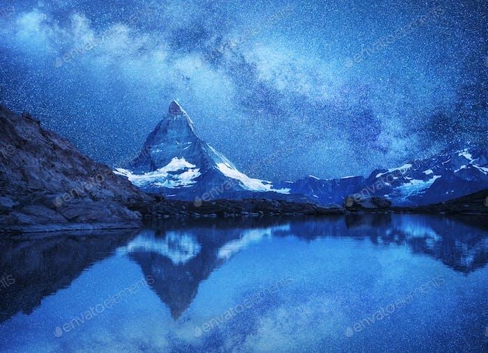 Mount Matterhorn against a starry sky. Landscape in Switzerland
